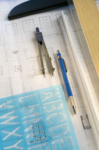 Architectural tools and blue prints : Stock Photo