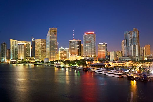 Stock Photo: 1795R-14912 Miami city skyline at night, Dade County, Florida, United States