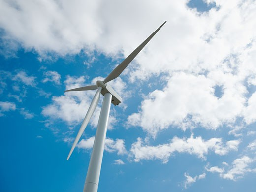 Low angle view of wind turbine : Stock Photo