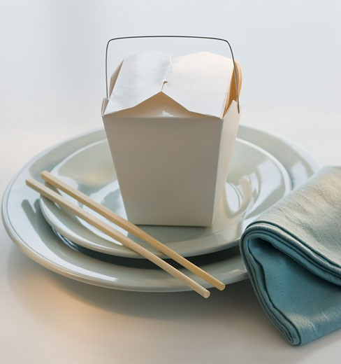 Stock Photo: 1795R-15761 Takeout food and placesetting