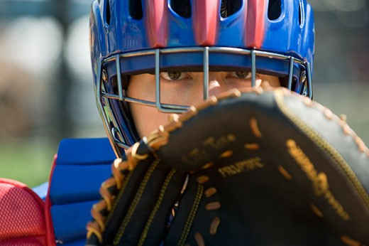 Close up of baseball catcher : Stock Photo