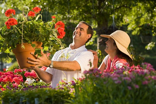 Stock Photo: 1795R-16730 Couple shopping for flowers