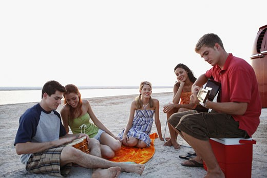 Friends socializing on beach : Stock Photo