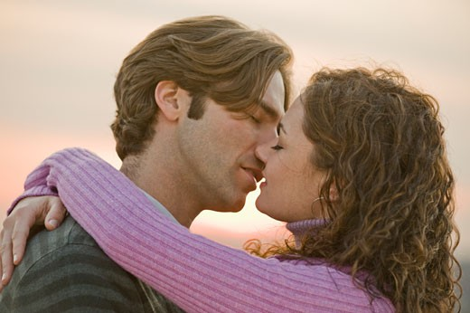 Close up of couple kissing : Stock Photo