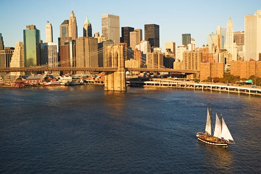 Stock Photo: 1795R-18282 Sailboat and New York City skyline