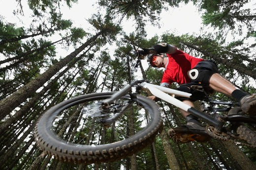 Stock Photo: 1795R-18415 Mountain biker in mid-air in forest
