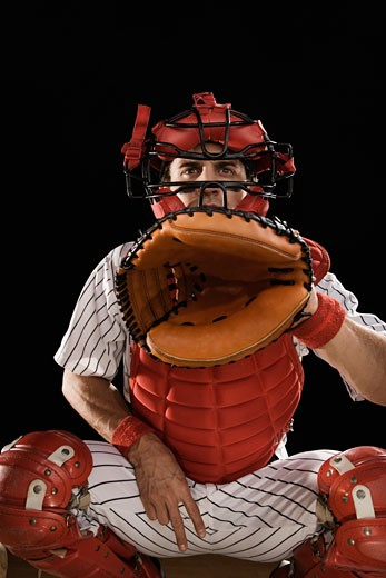 Stock Photo: 1795R-18690 Baseball catcher signaling