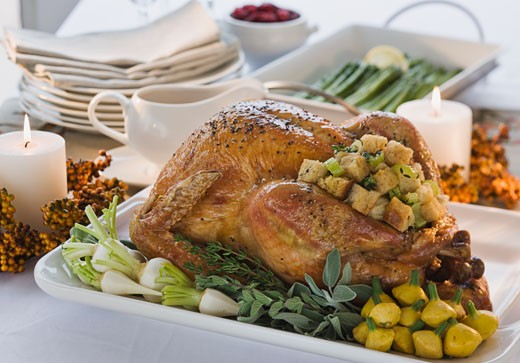 Stock Photo: 1795R-18984 Thanksgiving dinner on table