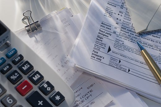 Stock Photo: 1795R-19035 Tax forms and accounting tools