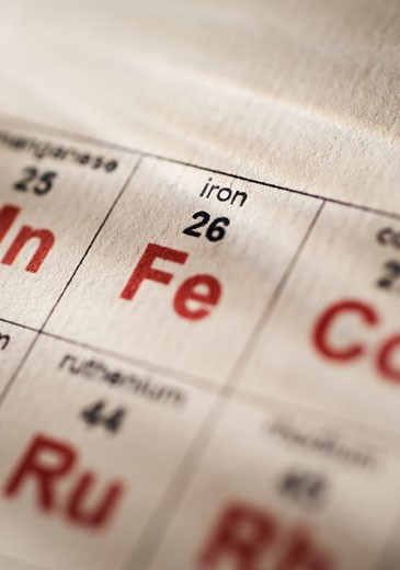 Iron on the periodic table of elements : Stock Photo