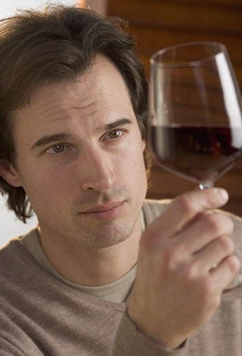 Closeup of man examining red wine : Stock Photo