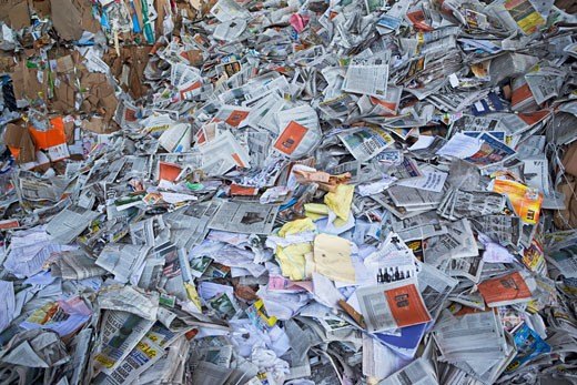 Paper at recycling plant : Stock Photo