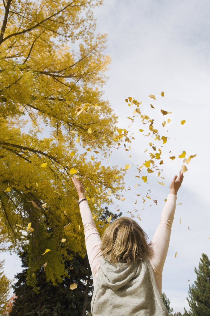 Woman throwing autumn leaves in air : Stock Photo