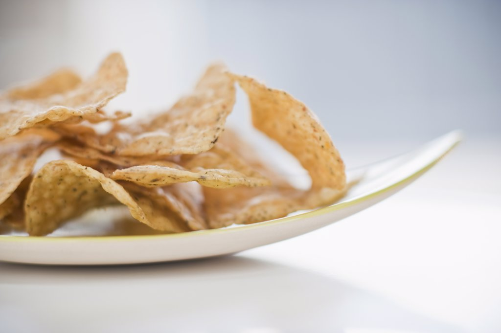 A plate of chips : Stock Photo