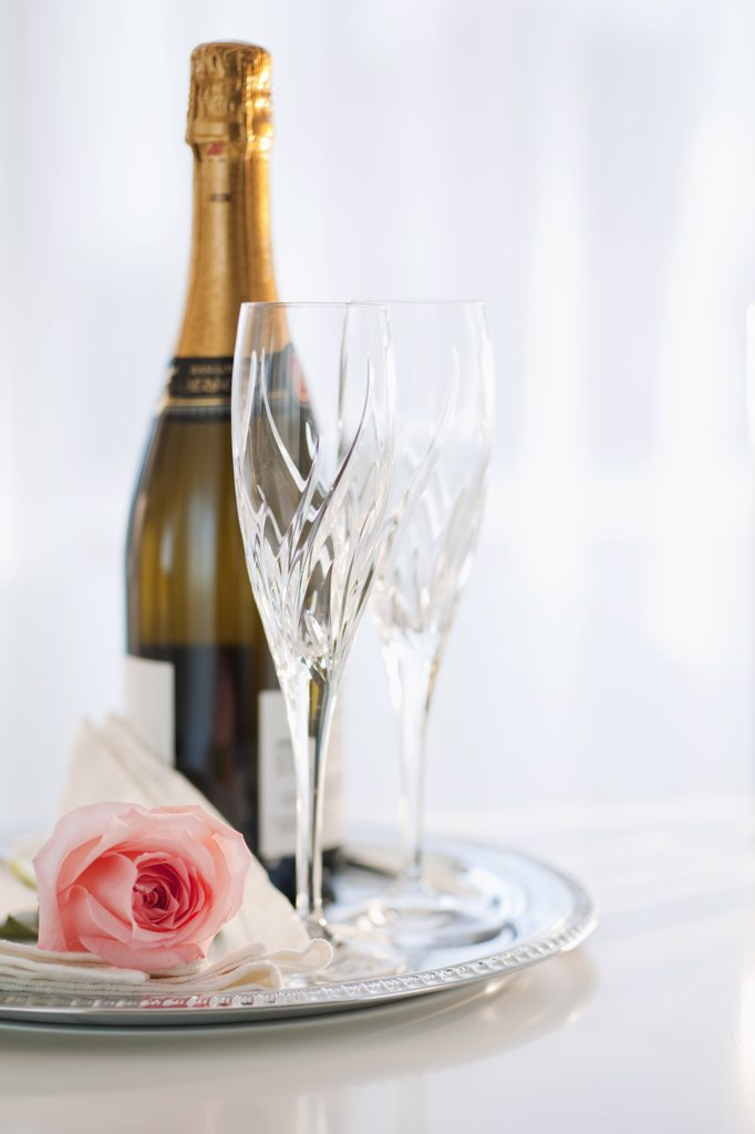 Stock Photo: 1795R-21025 Champagne bottle and rose