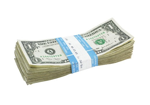 Stock Photo: 1795R-2284 Dollar bills with paper band