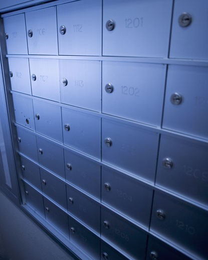 Stock Photo: 1795R-2364 Wall of mailboxes