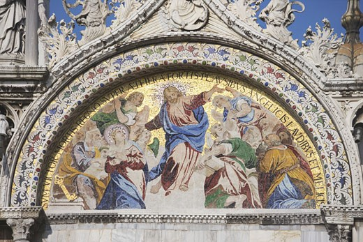 The Resurrection Byzantine mosaic on St Mark's Basilica Venice Italy : Stock Photo