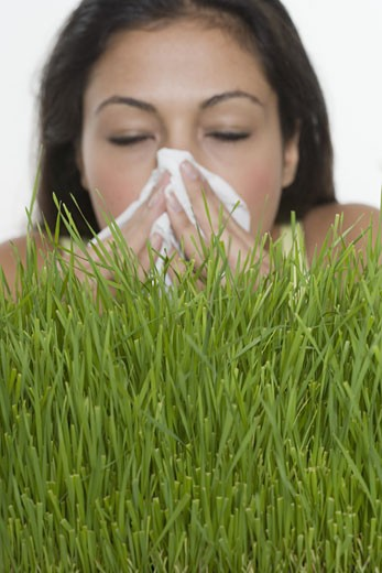 Woman blowing nose with grass : Stock Photo