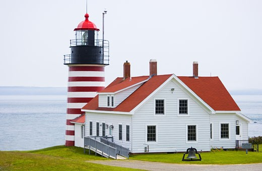 Stock Photo: 1795R-2708 West Quoddy Head Lighthouse Lubec Maine