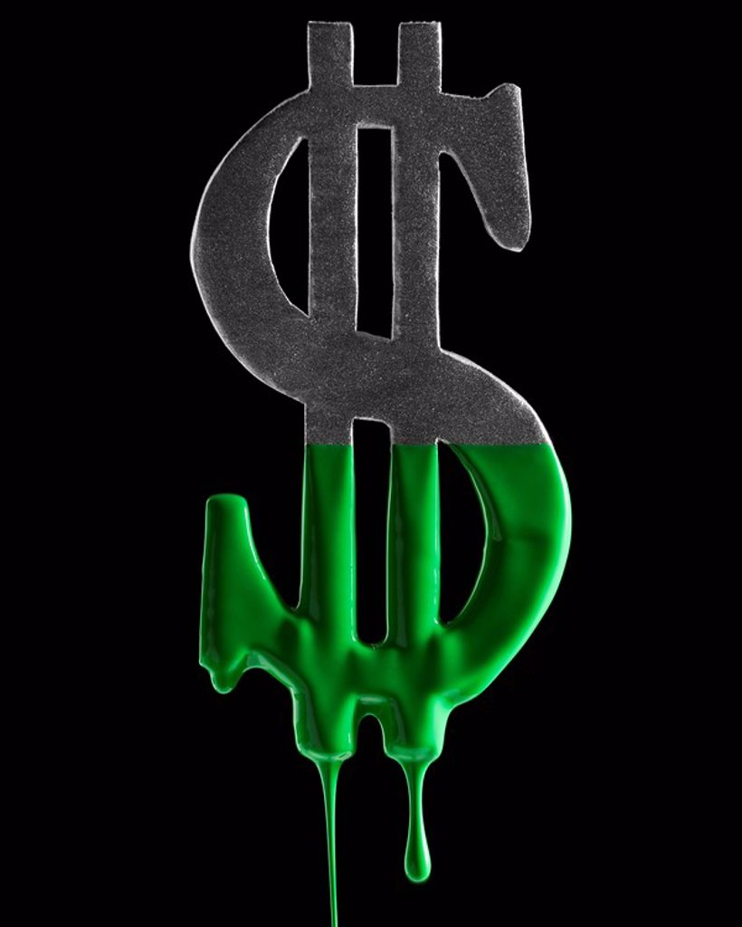 American dollar symbol dripping green paint : Stock Photo