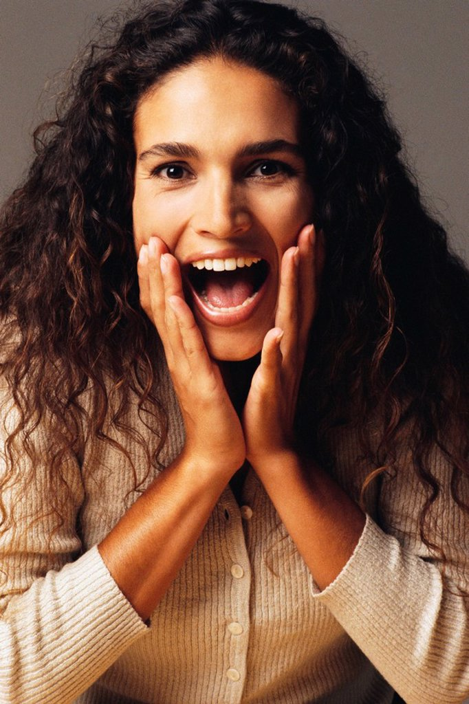 Stock Photo: 1795R-28115 Surprised woman