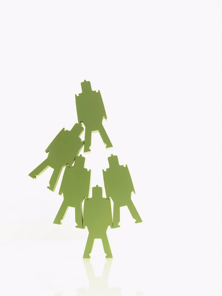 Green paper people : Stock Photo