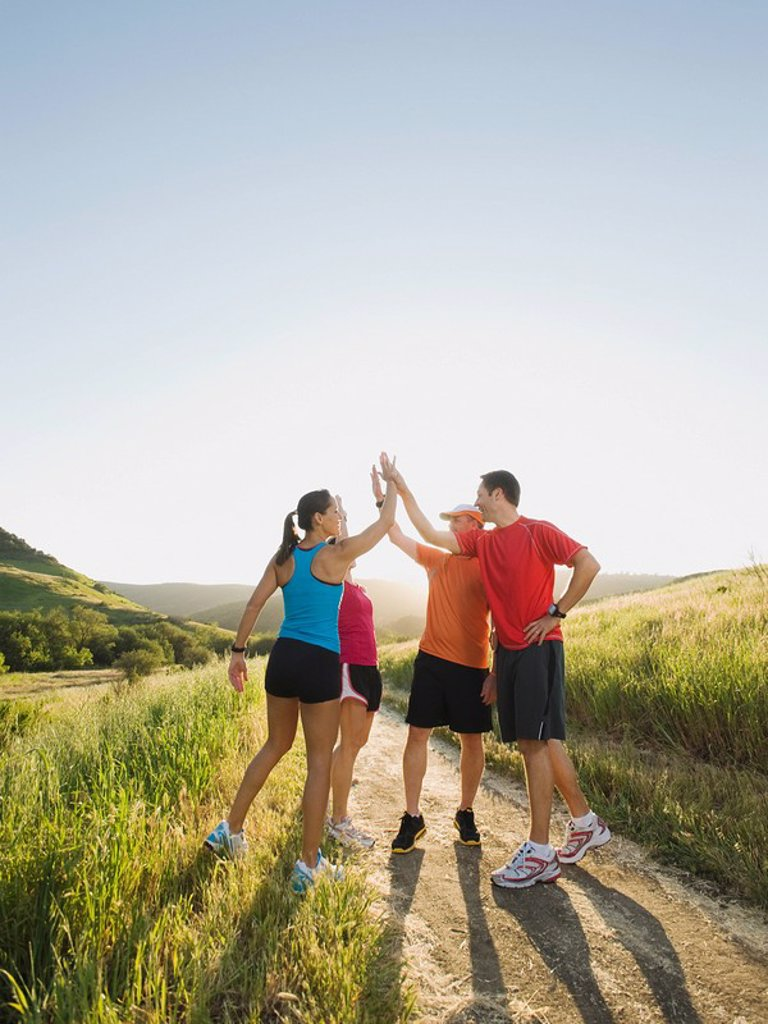 Trail runners taking a break : Stock Photo