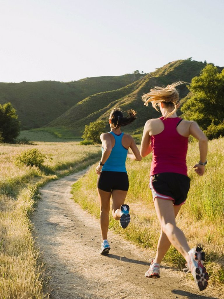 Two female trail runners : Stock Photo