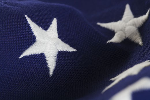 Stock Photo: 1795R-2940 Closeup of stars on American flag