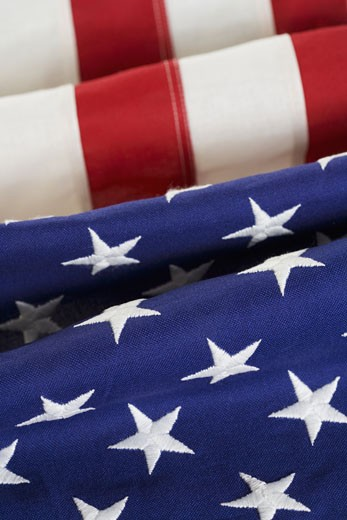 Folds of American flag : Stock Photo
