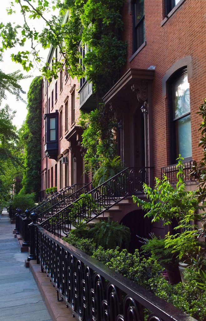 Stock Photo: 1795R-29797 Townhouses in Greenwich Village New York City