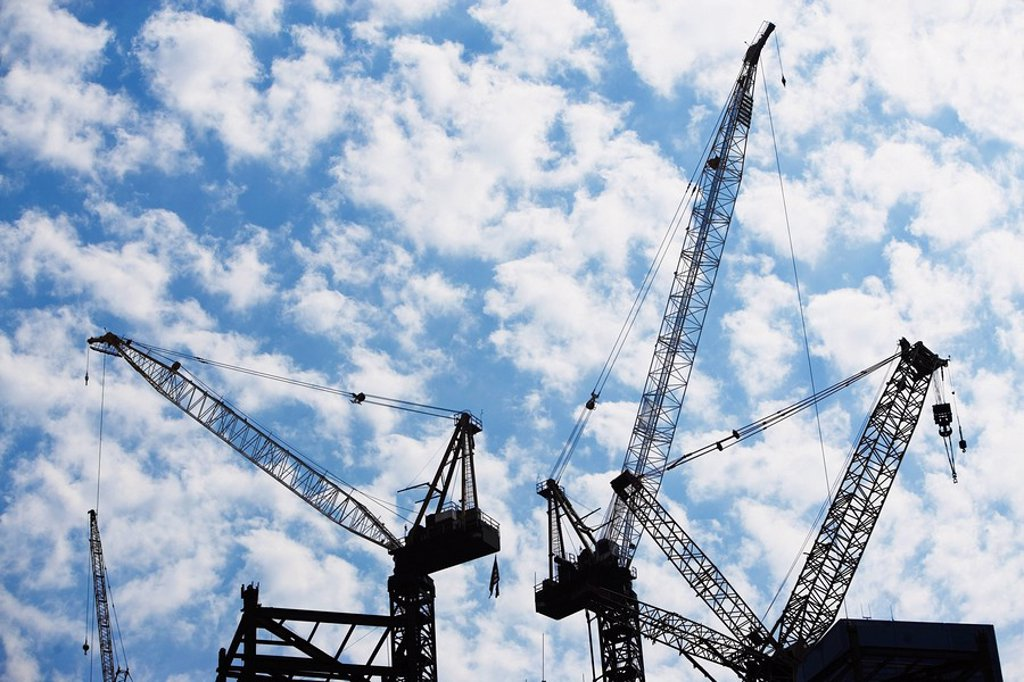 Stock Photo: 1795R-30486 Cranes at construction site