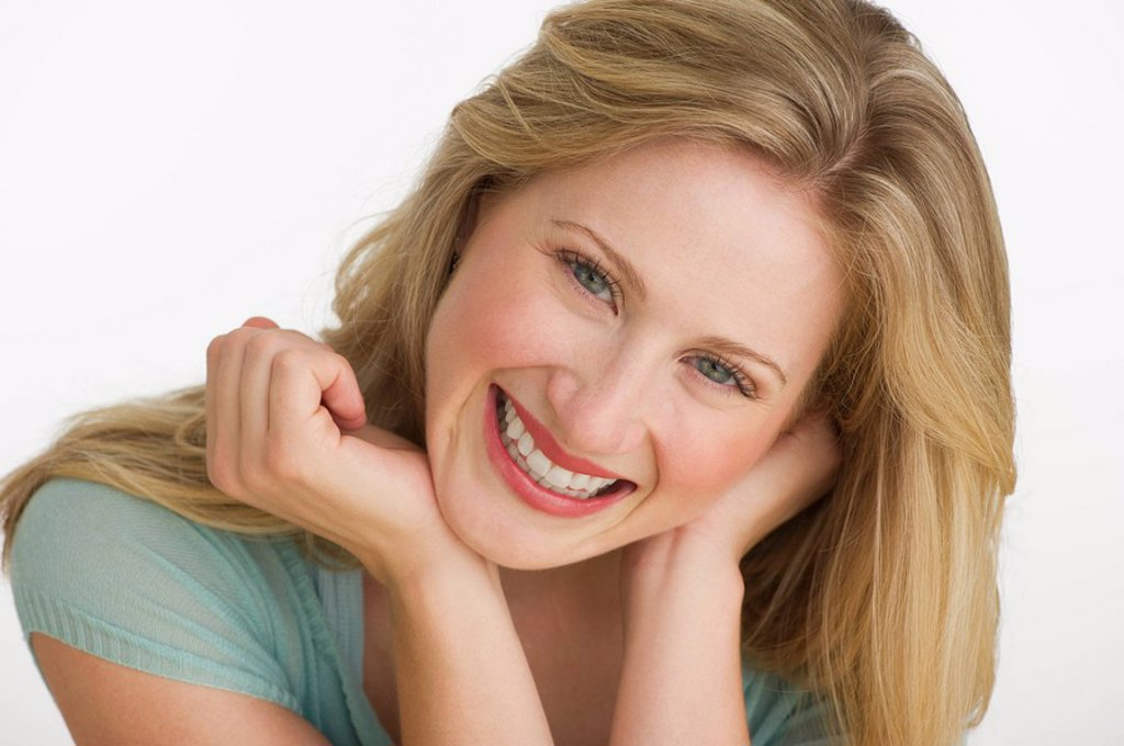 Happy blond woman : Stock Photo
