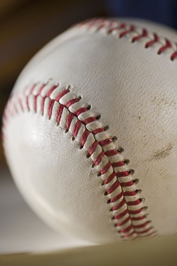 Closeup of a baseball : Stock Photo