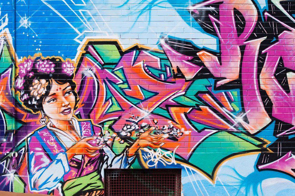 Stock Photo: 1795R-31287 Graffiti on brick wall