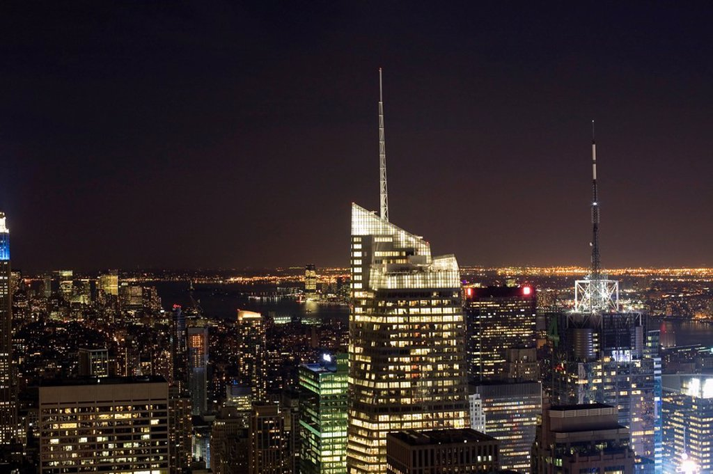 New York City skyline at night : Stock Photo