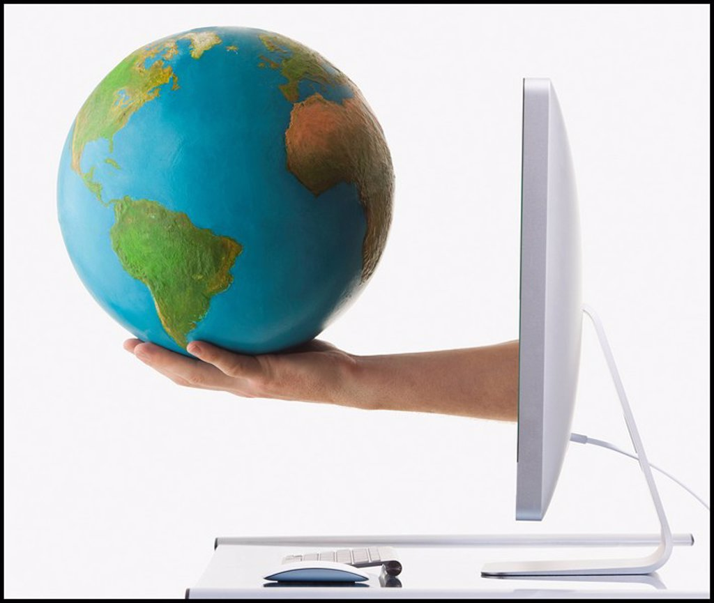 Stock Photo: 1795R-31601 Globe on arm extended out of computer monitor