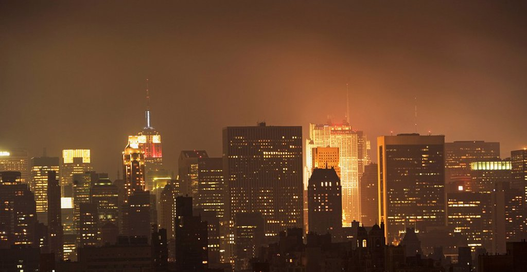 Stock Photo: 1795R-32035 New York City skyline at night