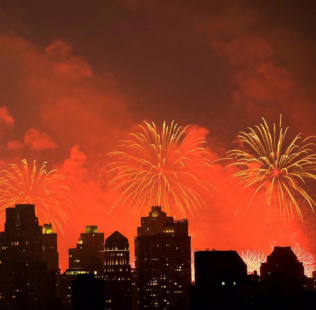 Stock Photo: 1795R-32036 Fireworks over New York City skyline