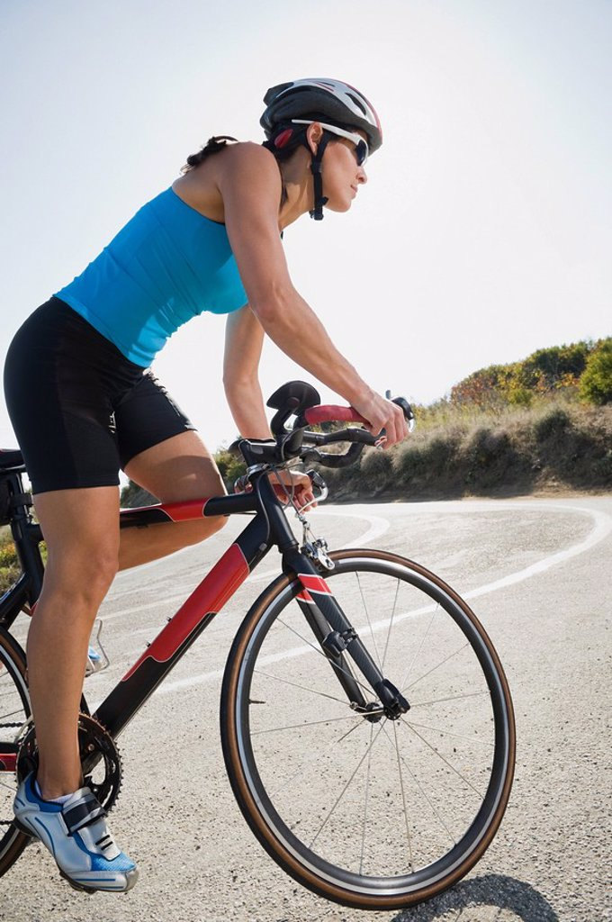 Stock Photo: 1795R-32062 Cyclist road riding in Malibu