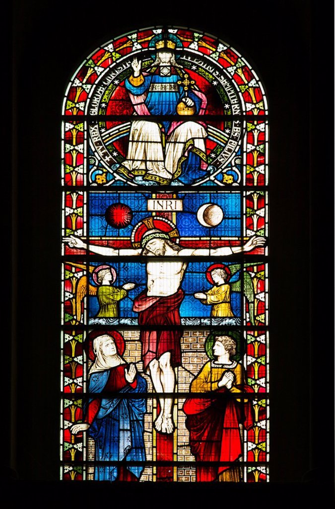 Stock Photo: 1795R-32557 Stained glass window in Christ Church Cathedral