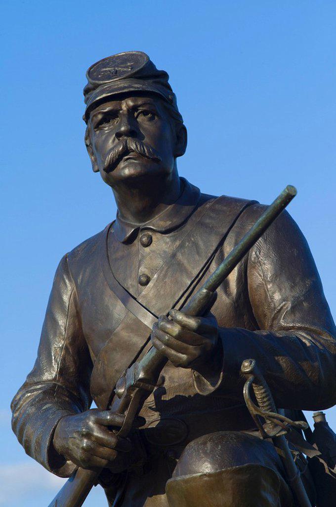 Stock Photo: 1795R-32577 Memorial to first Pennsylvania cavalry on cemetery ridge