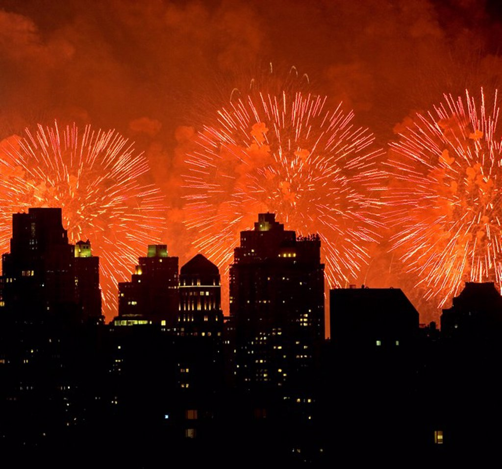 Stock Photo: 1795R-32757 Fireworks over New York City skyline