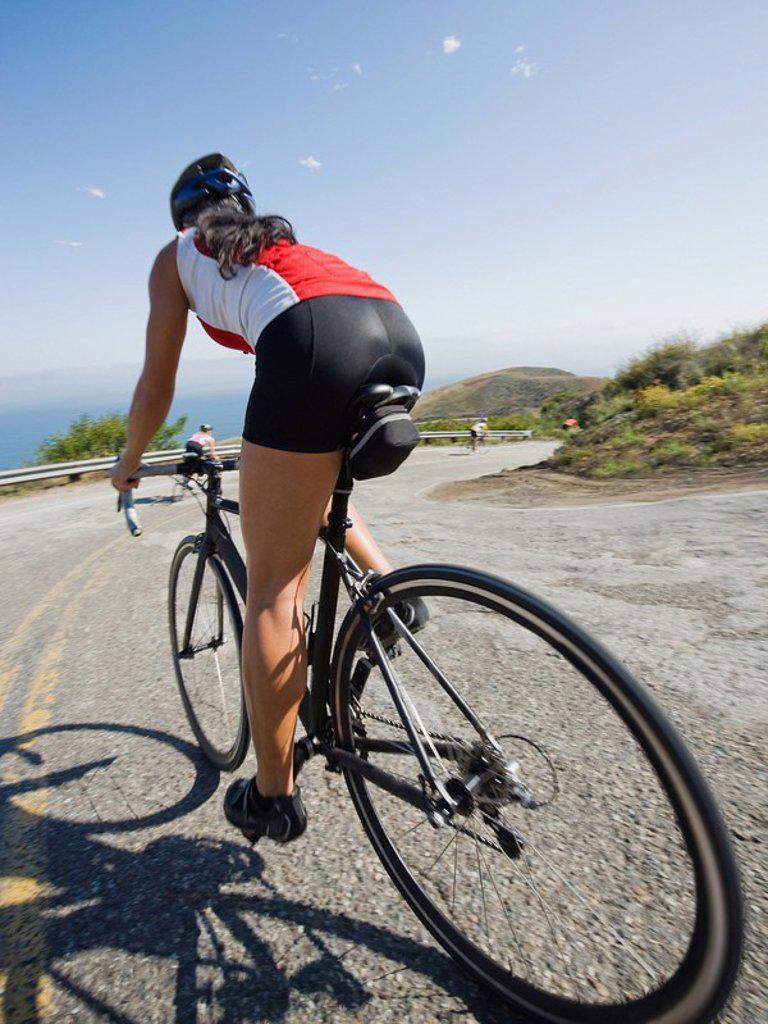Cyclists road riding in Malibu : Stock Photo
