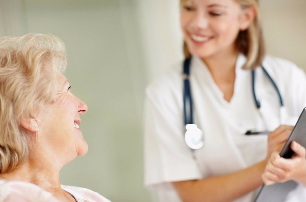 Stock Photo: 1795R-32914 Nurse and senior patient