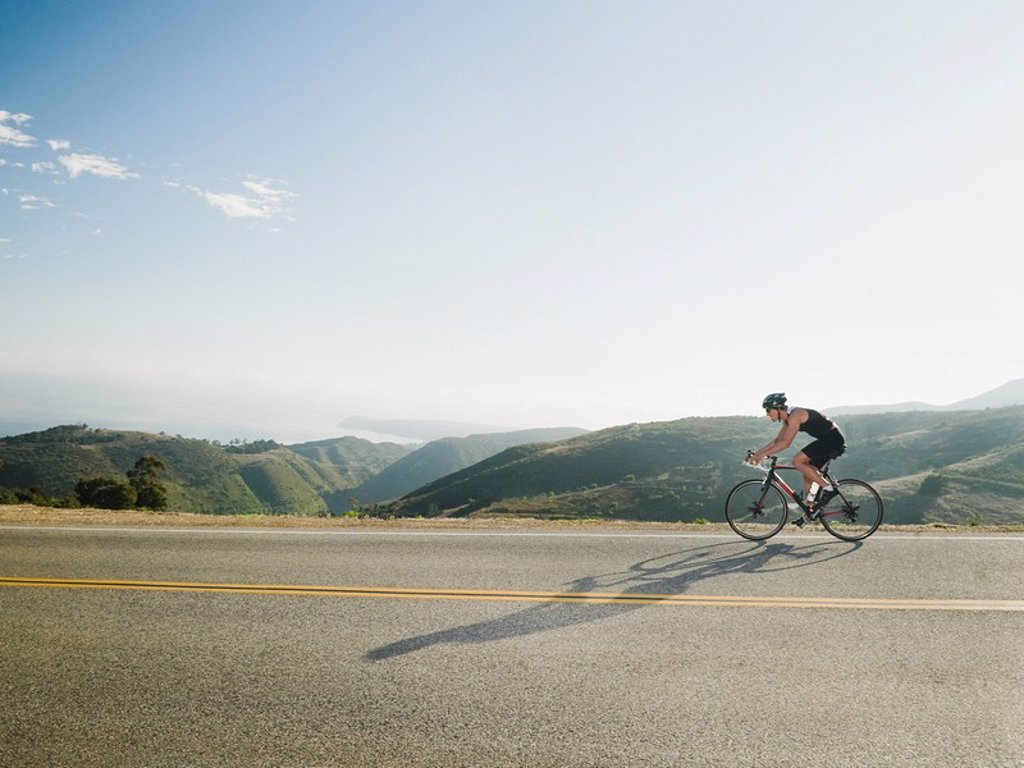 Cyclist road riding in Malibu : Stock Photo
