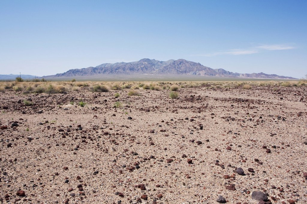 Desert landscape with Funeral Mountain : Stock Photo