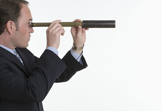 Man with telescope : Stock Photo