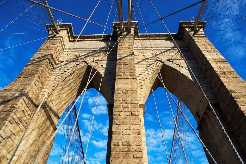 USA, New York State, New York City, Span of Brooklyn Bridge : Stock Photo